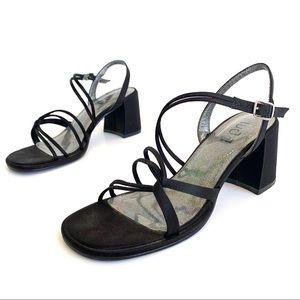 Vintage Y2K 90s Square Toe Strappy Block Heels
